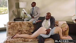 BLACKED Obedient gf punished by two captured guys