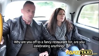 Fake Taxi Horny French wifey sharing taxi backseat threesome