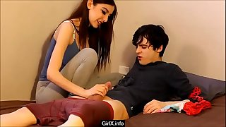 Step sister cacth step brother jerking off with her panties - GirlX.info
